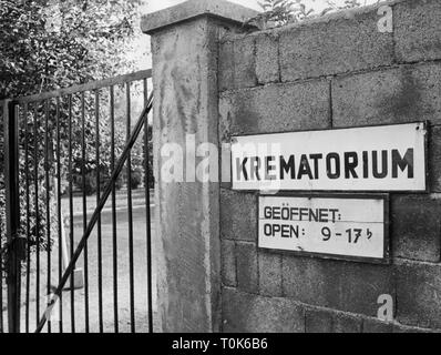 geography / travel, Germany, Dachau, concentration camp, memorial site, entrance to the crematory, 1960, Additional-Rights-Clearance-Info-Not-Available - Stock Photo