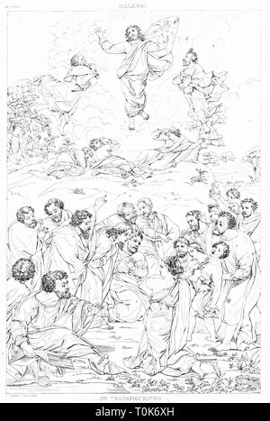 religion, biblical scenes, 'The Transfiguration', steel engraving, 19th century, after a painting by Raffaello Sanzio (Raphael), 1516 - 1520, Additional-Rights-Clearance-Info-Not-Available - Stock Photo