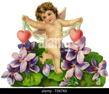 kitsch / souvenir, little angel with two hearts, scrap-picture, lithograph, Germany, 1885, Additional-Rights-Clearance-Info-Not-Available - Stock Photo