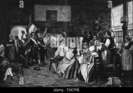 festivities, marksmen's festival, 'Der Preisträger' (The Prize Winner), after painting by Otto Kirberg,  (1850 - 1926), wood engraving, by H. Gedan, 1899, Additional-Rights-Clearance-Info-Not-Available - Stock Photo