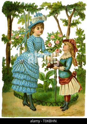 kitsch / souvenir, mother and daughter picking flowers, scrap-picture, chromolithograph, Germany, 1876, Additional-Rights-Clearance-Info-Not-Available - Stock Photo