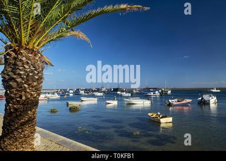 Fishing boats in Santa Luzia near Tavira, Fraro, Algarve, Portugal - Stock Photo