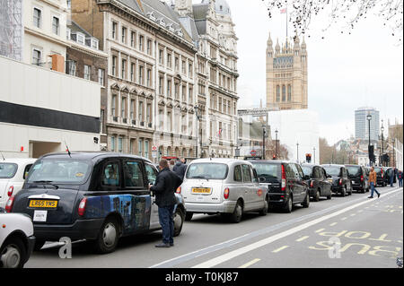 London Taxi Drivers Strike - Stock Photo