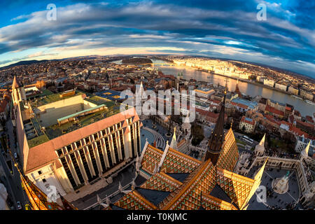 Budapest and the Danube river as seen from Matthias church spire. Budapest, Hungary. - Stock Photo