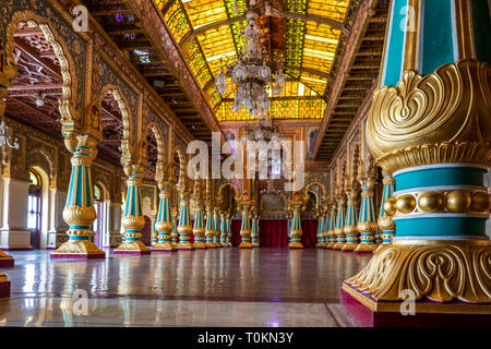 The Mysore Palace has more than 6 million annual visitors. After the Taj Mahal, it is now one of the most famous tourist attractions in India. - Stock Photo