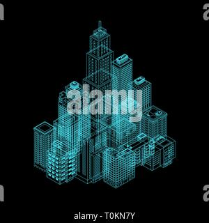 Vector Isometric Holography City. Vector Isometric City Building Icon Isolated on White Background. Private House, Skyscraper, Real Estate, Public Bui - Stock Photo