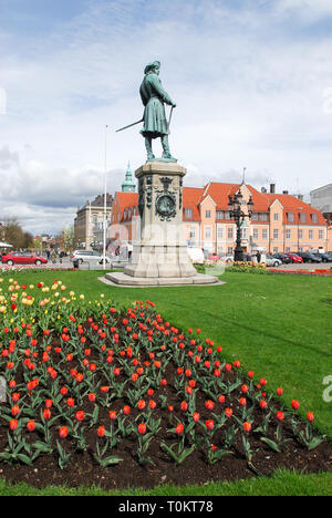 King Karl XI of Sweden statue (founder of city) on Stortorget on Trosso island listed World Heritage by UNESCO in Karlskrona, Blekinge, Sweden. May 2n - Stock Photo
