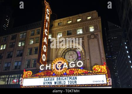 CHICAGO, IL -14 FEB 2019- View of the landmark Chicago Theater, a historic theater in the Loop Neighborhood in Chicago, Illinois. - Stock Photo