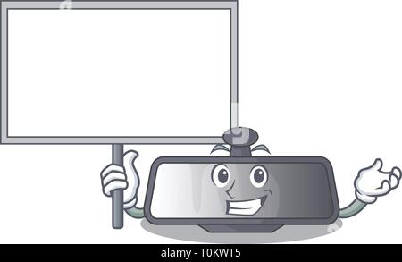 Bring board rear view mirror isolated with mascot - Stock Photo