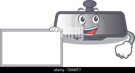With board rear view mirror isolated with mascot - Stock Photo