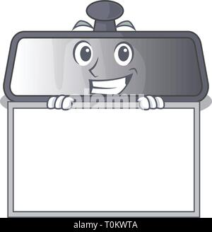 Grinning with board rear view mirror isolated with mascot - Stock Photo