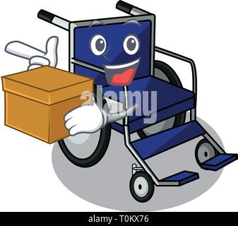 With box wheelchair in the a character shape - Stock Photo