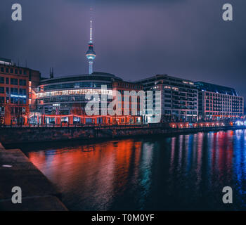 Berlin City at Night with beautiful neon lights in a futuristic different look