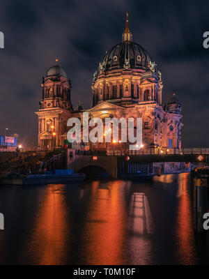 Berlin Cathedrale, Berlin Dom, Berlin City at Night with beautiful neon lights in a futuristic different look