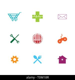 Vector illustration of flat thin line business icons - Stock Photo