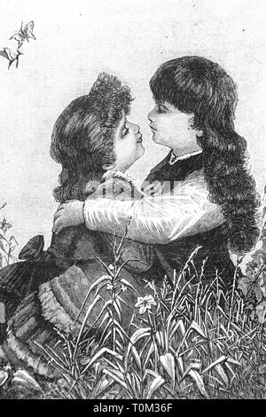 Lovers - Vintage Engraved Illustration, 1894 - Stock Photo
