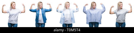 Collage of beautiful blonde young woman over isolated background showing arms muscles smiling proud. Fitness concept. - Stock Photo