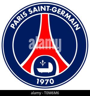 Logo of French football team Paris Saint-Germain Football Club PSG - France. - Stock Photo