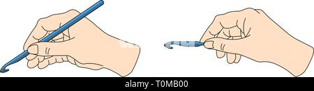 Correct position crochet hook in hand. Knitting vector illustration set - Stock Photo
