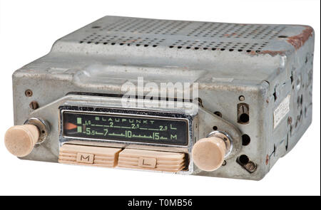 broadcast, radio, radios, car radio Blaupunkt 'Bremen ATR', early German car radio, build for the fitting in the VW Beetle, made by: Blaupunkt Werke GmbH, Hildesheim, Germany, circa 1956, Additional-Rights-Clearance-Info-Not-Available - Stock Photo