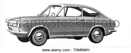 transport / transportation, car, vehicle variants, Fiat 850 Coupe, view from left, illustration, 1965, Artist's Copyright must also be cleared - Stock Photo