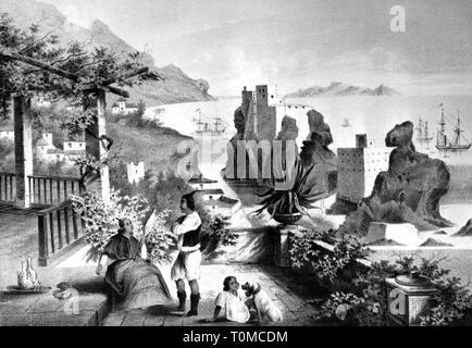 geography / travel, Portugal, Funchal, Madeira, lithograph after drawing by Heine and Brown, 1853, Additional-Rights-Clearance-Info-Not-Available - Stock Photo