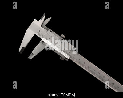 Cut-out of a caliper. Black background. Surveying concepts. - Stock Photo