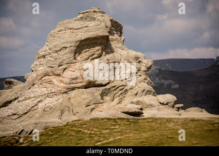The beautiful Sphinx. A geomorphologic rocky structures in Bucegi Mountains, Romania. Natural landmark and ancient stone - Stock Photo