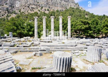 Ancient Roman ruins of Athena Temple, Priene, Turkey, Asia Minor, Asia - Stock Photo