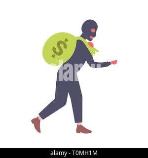 man in black mask carrying money sack crime robber holding big bag rapid illicit earnings theft and fraud concept male cartoon character full length - Stock Photo