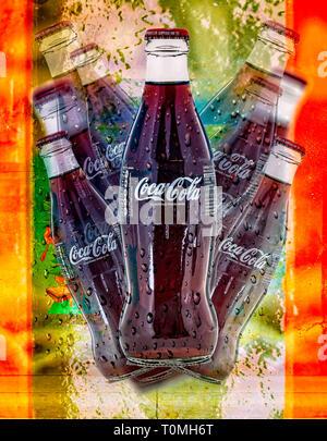 SWINDON, UK - MARCH 15, 2019: Coca-Cola retro pop art - Stock Photo