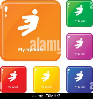 Fly by kick icons set vector color - Stock Photo