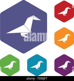 Origami raven icons vector hexahedron - Stock Photo