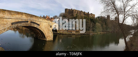 Panorama of Durham Framwellgate Bridge spanning the River Wear, Durham Castle and Cathedral on a rock above the city, England, UK - Stock Photo