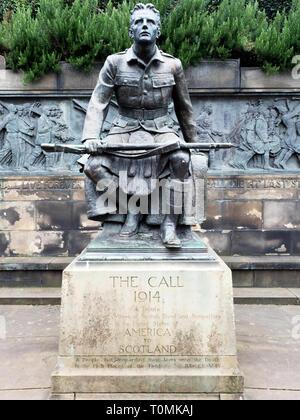 The Scottish American Memorial called The Call 1914 in West Princes Street Gardens Edinburgh Scotland - Stock Photo