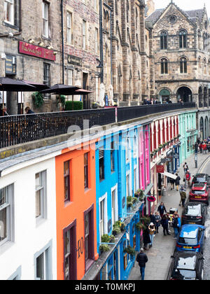 Colourful buildings along Victoria Street in the Old Town in Edinburgh Scotland - Stock Photo