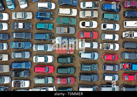 Sweden, Aerial view over a scrapyard for old cars.Photo Jeppe Gustafsson - Stock Photo