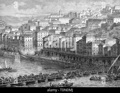 Peninsula War 1807 - 1814, conquest of Oporto by French troops, the Ponte das Barcas cracks under the weight of the fleeing civilian population, 29.3.1809, wood engraving, 2nd half 19th century, flight, crowd, crowds, crowds of people, crowd of people, mass exodus, stampede, catastrophe, catastrophes, disaster, disasters, mishap, crash, crashes, collapses, collapse, collapsing, breaking down, break down, pontoon bridge, pontoon bridges, bridge of boats, bridge, bridges, river, rivers, Douro, Portugal, Porto, city, civilian, civilians, populace, N, Additional-Rights-Clearance-Info-Not-Available - Stock Photo