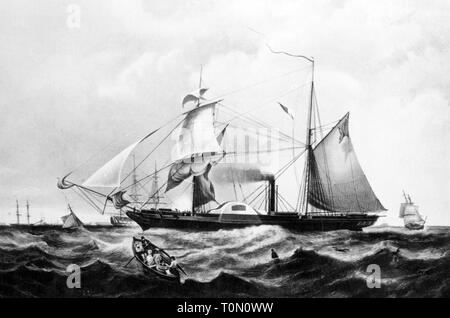 transport / transportation, navigation, warship, British paddle wheel frigate HMS Cyclops, in commission 1840 - 1863, after painting by H. Paprill after Knell, 1840, Royal Navy, Great Britain, United Kingdom, paddle steamer, paddle steamers, steamship, steamships, sail steamer, two master, two masters, frigate, frigates, man-of-war, ships, ship, military, armed forces, naval forces, navy, 19th century, no-people, transport, transportation, warship, warships, historic, historical, Artist's Copyright has not to be cleared - Stock Photo