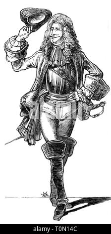 fashion, 18th century, 'Der Adjutant' (The Adjutant), illustration from 'Muenchner Bilderbogen', wood engraving, 19th century, graphic, graphics, full length, clipping, cut out, cut-out, cut-outs, standing, clothes, outfit, outfits, hats, three-cornered hat, periwig, periwigs, wig, wigs, armour suit, armor suit, sword, boot, bucket top boots, military, soldier, soldiers, officer, officers, historic, historical, man, men, male, people, Additional-Rights-Clearance-Info-Not-Available - Stock Photo