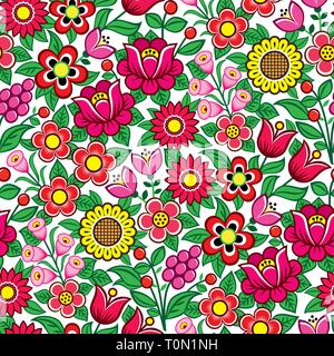 Floral seamless Polish folk art vector pattern - traditional design with flowers and leaves from Zalipie in Poland - Stock Photo