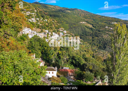 Aerial street and houses view at Makrinitsa village of Pelion, Greece - Stock Photo