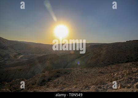 Desert sunset Photographed in Israel, Negev desert - Stock Photo