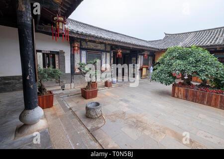 Interior courtyard, Zhu Family house, Jianshui Ancient Town, Yunnan Province, China - Stock Photo