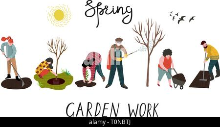 Set of isolated people working in the garden over planting, developing the land and treating trees from pests. Vector - Stock Photo