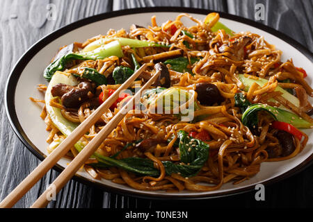 Fried udon noodles with bok choy, shiitake mushrooms, sesame and pepper close-up on a plate on the table. horizontal - Stock Photo