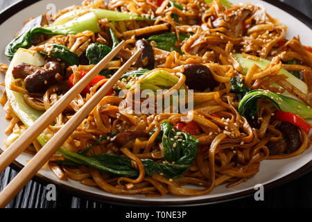 Traditional stir fry of udon noodles with bok choy, shiitake mushrooms, sesame and pepper close-up on a plate on the table. horizontal - Stock Photo