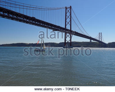 View of Ponte 25 de Abril suspension bridge, River Tagus, Lisbon, Portugal - Stock Photo