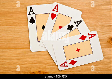 four aces poker playing cards - Stock Photo