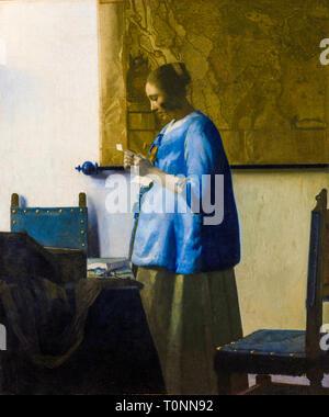 Johannes Vermeer, Woman Reading a Letter, portrait painting, c. 1663 - Stock Photo